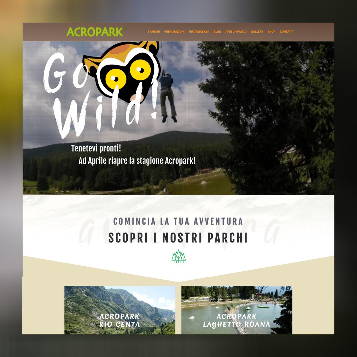 Homepage del sito di parchi avventura Acropark
