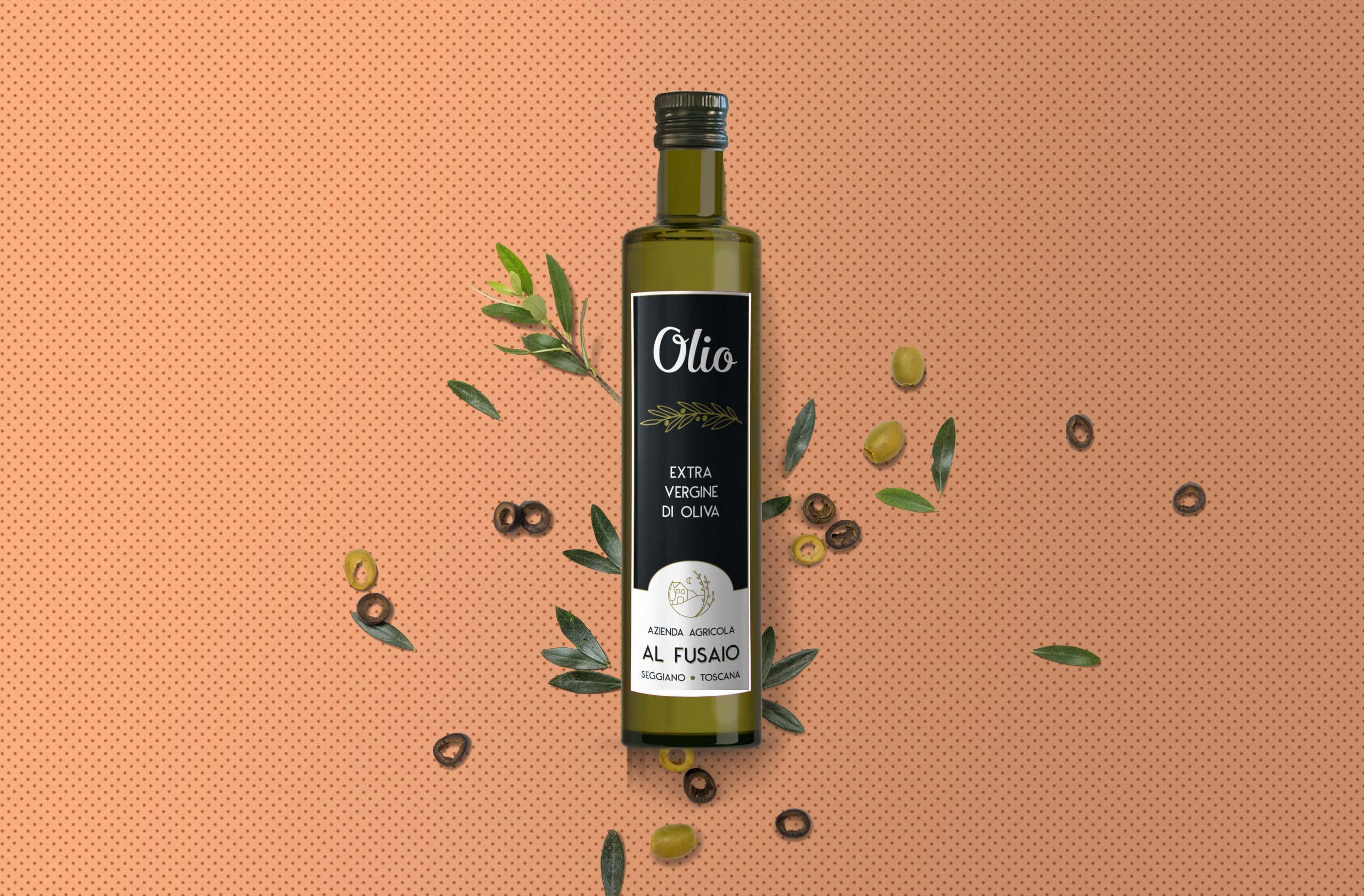 Etichetta frontale completa bottiglia olio Azienda Agricola Al Fusaio